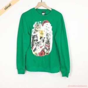 [Fifth Sun] Green Christmas Cats Bells Sweatshirt